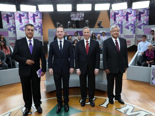 "In this photo released by the National Electoral Institute (INE), presidential candidates ( from left) independent Jaime Rodriguez, known as ""El Bronco,"" Ricardo Anaya of the Forward for Mexico Coalition, Jose Antonio Meade, of the Institutional Revoluti"