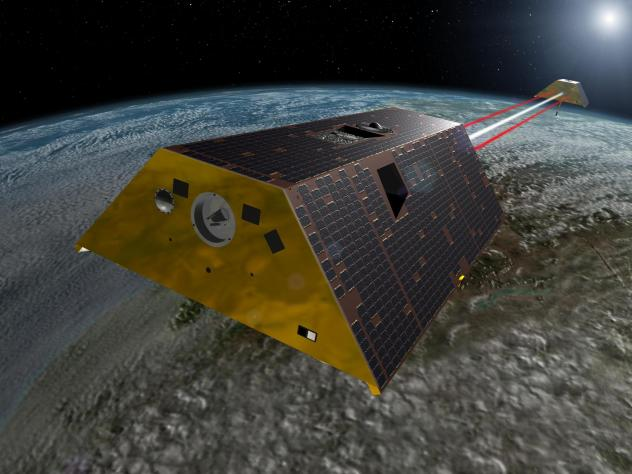 The Gravity Recovery and Climate Experiment Follow-On (GRACE-FO) mission, shown in an artist's rendering, will measure tiny fluctuations in Earth's gravitational field to show how water moves around the planet.