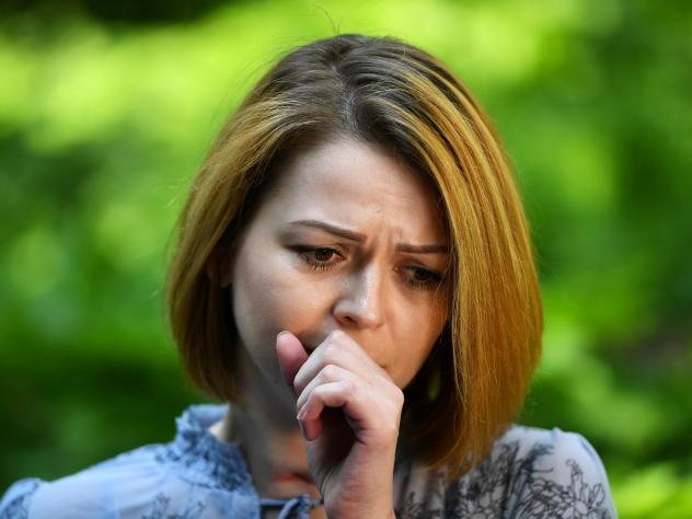 Yulia Skripal speaks to a journalist on Wednesday in London following her March poisoning with a nerve agent in Salisbury along with her father, former Russian spy Sergei Skripal.