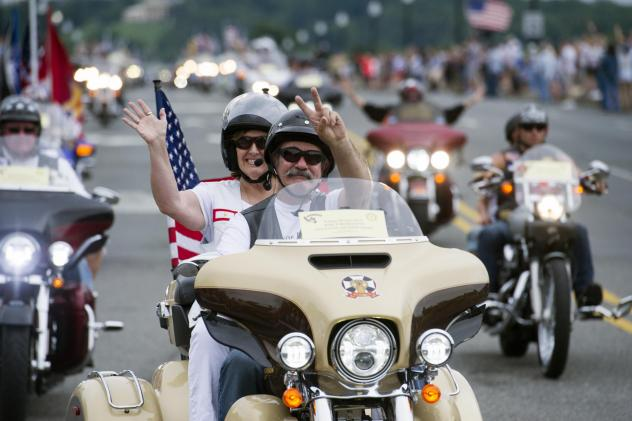 Young and old come out for Rolling Thunder events over Memorial Day Weekend, including the Blessing of the Bikes at National Cathedral.