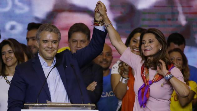 Gustavo Petro, presidential candidate for Colombia Humana, speaks to supporters in Bogota Sunday. Petro, a former leftist rebel and ex-Bogota mayor, came in second place behind former senator Ivan Duque in presidential elections.
