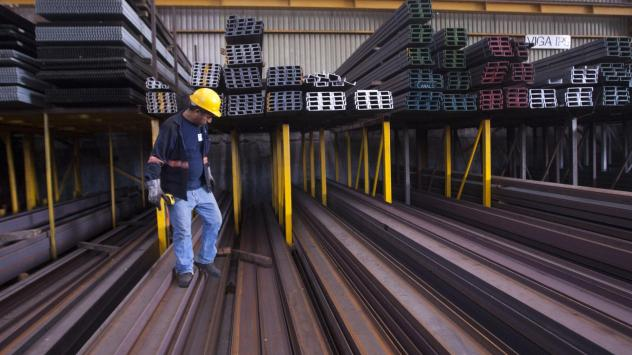 A man works in a steel distribution factory in Monterrey in northern Mexico last week, when the U.S. tariffs on steel and aluminum took effect.