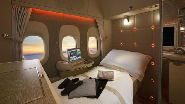 This Emirates first-class suite doesn't have any windows — those are video screens showing camera footage of the outdoors. The president of Emirates says he predicts the technology will be used to build windowless planes — faster, lighter and filled