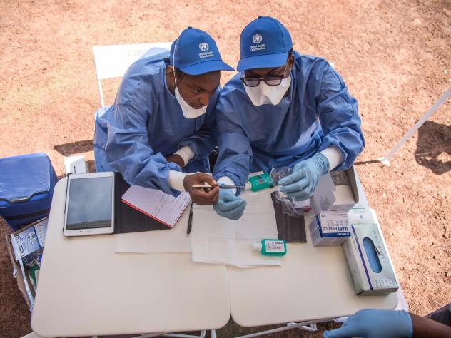 Nurses working with the World Health Organization prepare to administer Ebola vaccines in Mbandaka, a town in the Democratic Republic of the Congo.