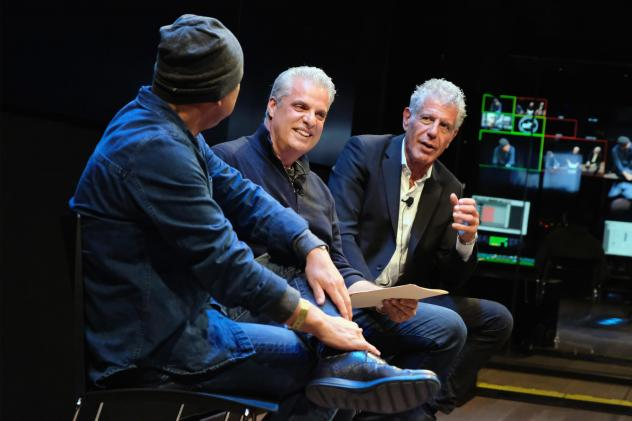 Chefs Masa Takayama (left), Eric Ripert and Anthony Bourdain chat during a screening of <em>Anthony Bourdain: Parts Unknown</em> in 2016 in New York City.