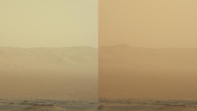 A series of images shows simulated views of a darkening Martian sky blotting out the Sun from NASA's Opportunity rover's point of view, with the right side simulating Opportunity's current view in the global dust storm (June 2018).