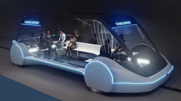 """An artist's rendering shows the design of an """"electric skate"""" vehicle that the Boring Company says could travel up to 150 mph and whisk passengers to and from Chicago's O'Hare Airport in minutes."""