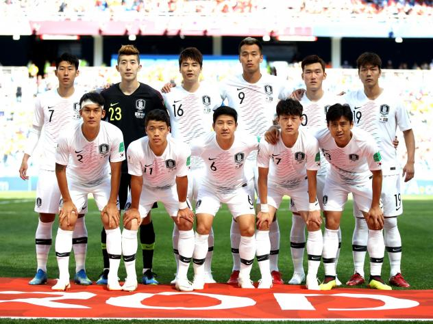 The South Korean soccer team poses for a photo prior to the 2018 FIFA World Cup match against Sweden at Nizhny Novgorod Stadium on June 18, 2018 in Nizhny Novgorod, Russia.