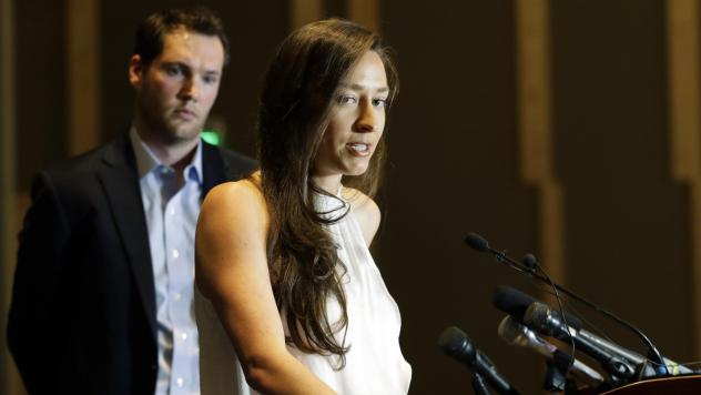 Olympic swimmer Ariana Kukors Smith talks to reporters during a May news conference in Seattle. Kukors Smith sued USA Swimming, alleging the sport's national governing body knew her former coach sexually abused her as a minor and covered it up.