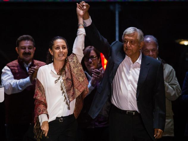 "Claudia Sheinbaum, the leading candidate for mayor of Mexico City and Andres Manuel Lopez Obrador, the frontrunner for president, attend the final event of the 2018 campaign in Mexico City on Wednesday. ""Just because I might look like a skinny scientist"