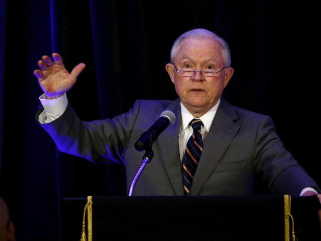 Attorney General Jeff Sessions speaks at the Association of State Criminal Investigative Agencies event in May. On Tuesday, the departments of Justice and Education announced that they have retracted documents that advised schools on how they could legal