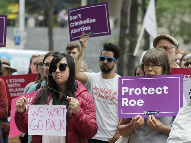 Abortion rights supporters in Seattle protest on Tuesday against President Trump and his choice of federal appeals Judge Brett Kavanaugh as his second nominee to the Supreme Court. Activists are preparing for the possibility that Kavanaugh's confirmation