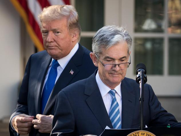 "President Trump looks on as his nominee for Federal Reserve chairman, Jerome Powell, takes to the podium at the White House on Nov. 2. On Thursday, Trump said he is ""not thrilled"" about Fed interest rate hikes."