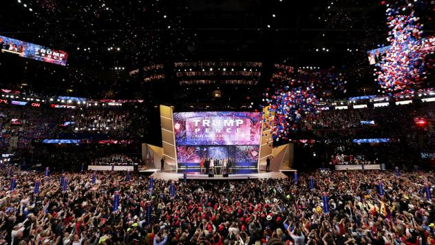 Then-candidate Donald Trump on stage with his running mate Mike Pence and their families at the end of the 2016 Republican National Convention in Cleveland. Republicans have chosen Charlotte, N.C., to host their 2020 convention, a city that hosted Democr