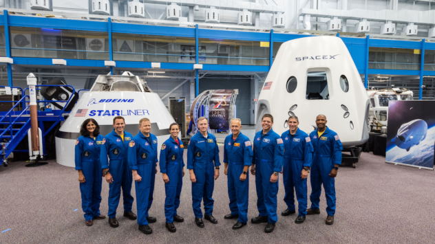 NASA has named nine astronauts to crew the first test flights and missions of Boeing's CST-100 Starliner and SpaceX's Crew Dragon capsule. From left to right: Sunita Williams, Josh Cassada, Eric Boe, Nicole Mann, Christopher Ferguson, Douglas Hurley, Rob