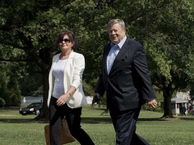Amalija and Viktor Knavs, parents of first lady Melania Trump, walk on the South Lawn of the White House in Washington in June 2017.