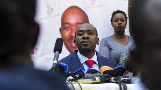 Nelson Chamisa addresses a news conference earlier this month in the capital, Harare. On Friday, Chamisa's opposition Movement for Democratic Change filed a legal challenge of the presidential election won by his opponent, incumbent President Emmerson Mn