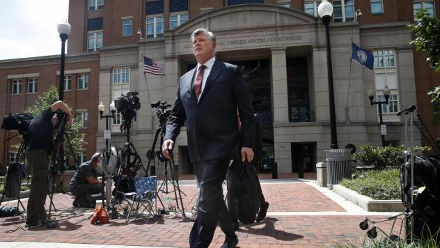 Kevin Downing, an attorney with the defense team for Paul Manafort, leaves federal court Monday as the trial of the former Trump campaign chairman continues.