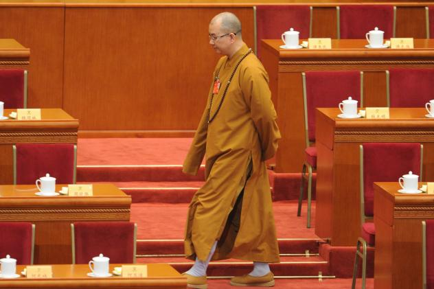 Buddhist monk Xuecheng, shown here at a conference in 2014, has resigned from his post after sexual misconduct allegations.