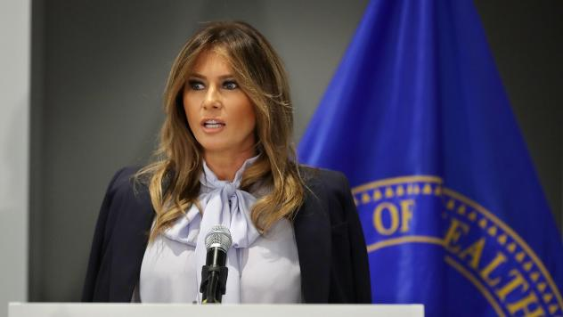First lady Melania Trump delivers remarks during a Federal Partners in Bullying Prevention summit at the Health Resources and Service Administration Monday in Rockville, Md.