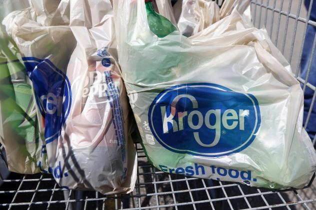Kroger is encouraging people to use reusable bags like these.