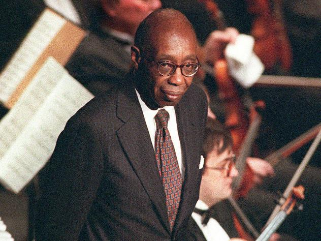 Composer George Walker takes a bow at a performance of his Pulitzer winning piece, <em>Lilacs</em>, in California in1996.