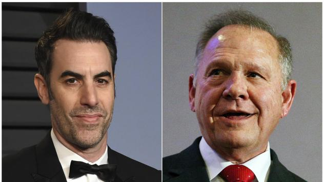 This combination photo shows Sacha Baron Cohen, left, at the Vanity Fair Oscar Party in Beverly Hills, Calif., earlier this year and former Alabama Chief Justice and U.S. Senate candidate Roy Moore at a news conference in Birmingham, Ala., late last year