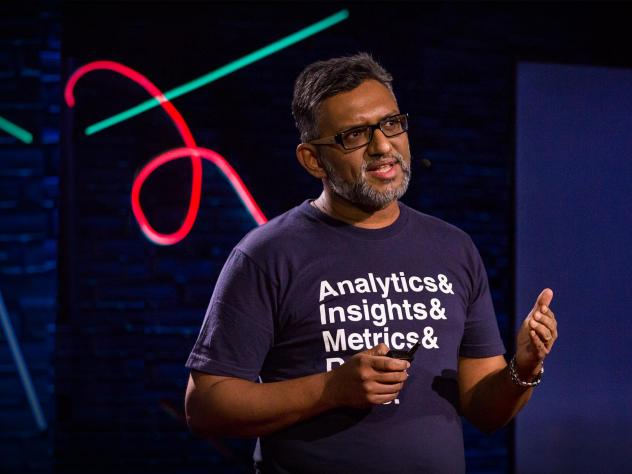 Lux Narayan on the TED stage.