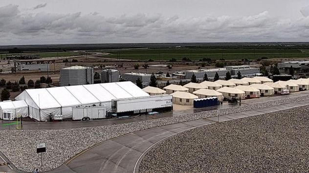 A West Texas tent shelter for unaccompanied minor immigrants in Tornillo, Texas. The government announced this week that the camp is expanding from 1,200 to 3,800 beds to accomodate an increasing number of immigrants crossing the border.