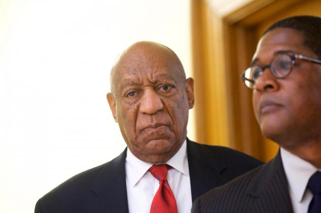Bill Cosby reacts to the verdict in his sexual assault retrial in April, at the Montgomery County courthouse in Norristown, Pa. A jury convicted <em>The Cosby Show</em> star of three counts of aggravated indecent assault.