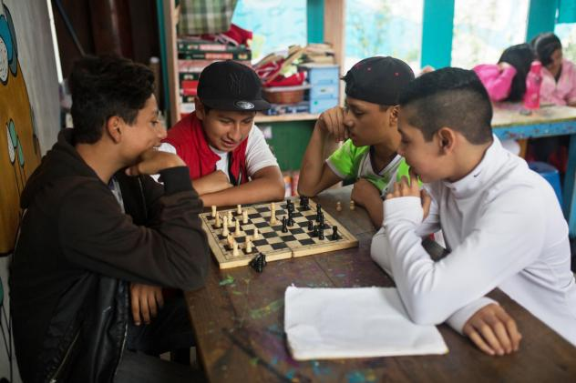 """Jonathan Ramirez, 16, breakdances at Los Patojos. """"We have four fundamentals here,"""" says Rafael Fuentes, the education coordinator, """"food, health, education and art. For us, art is just as important as math."""""""