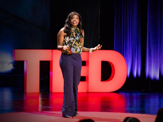 Liz Ogbu on the TED stage.