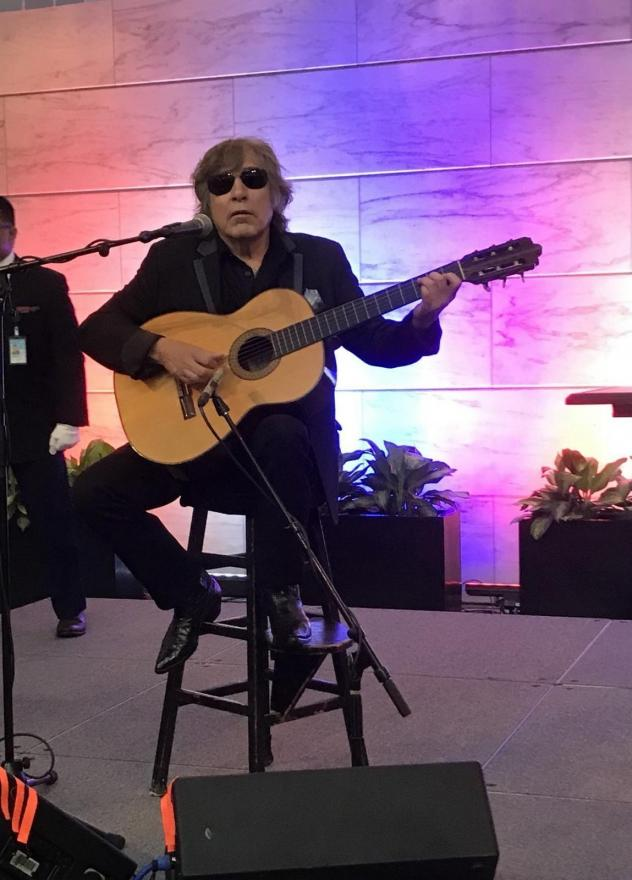 """Grammy Award-winning artist Jose Feliciano performs the """"Star-Spangled Banner"""" at the Smithsonian' National Museum of American History."""