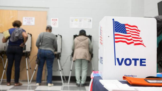 Voters cast ballots at C.T. Martin Natatorium and Recreation Center in Atlanta on Oct. 18 during Georgia's early voting period.