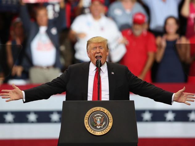 President Trump speaks during a campaign rally to help Republican candidates on Wednesday in Estero, Fla.