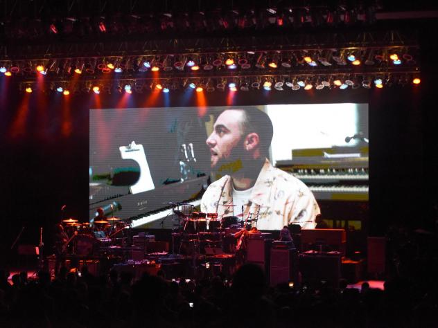 An image of Mac Miller, who died suddenly in September, projected on the rear of the stage at the Greek Theatre in Los Angeles, Calif., before a benefit concert organized in Miller's honor.