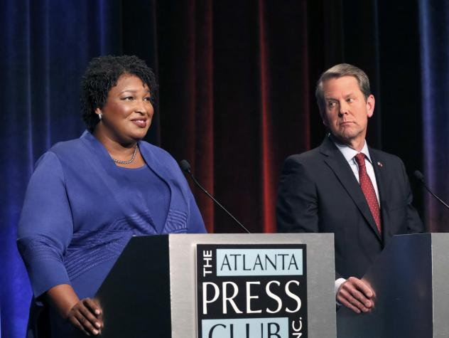 """Georgia's Republican secretary of state, Brian Kemp — who is locked in a tight race for governor against Democrat Stacey Abrams — says the Democratic Party tried to hack the state's election system. Kemp says he has asked the FBI to look into """"potent"""