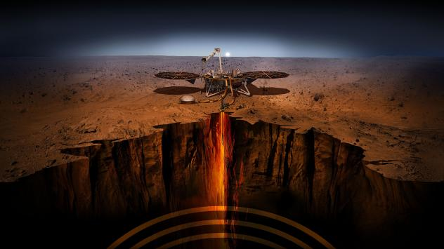 An artist's depiction of InSight — short for Interior Exploration using Seismic Investigations, Geodesy and Heat Transport. The spacecraft has been designed to give Mars its first thorough checkup since the red planet formed, about 4.5 billion years ag