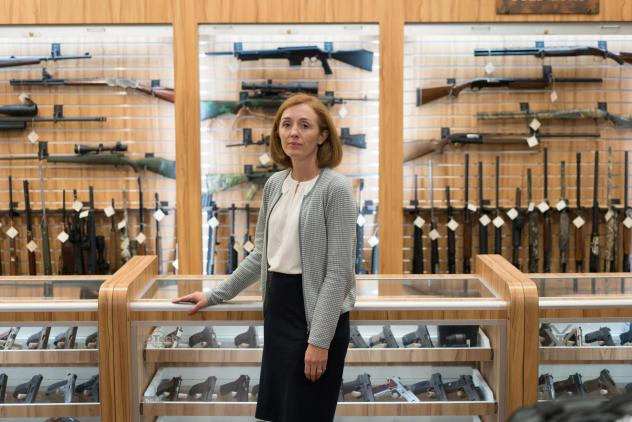 """Dr. Emmy Betz, a co-founder of the Colorado Firearm Safety Coalition, led a meeting of the group at the Centennial Gun Club. """"If you want to reduce suicide deaths, you have to talk about firearms,"""" Betz says. """"And if you want to reduce firearm deaths, yo"""