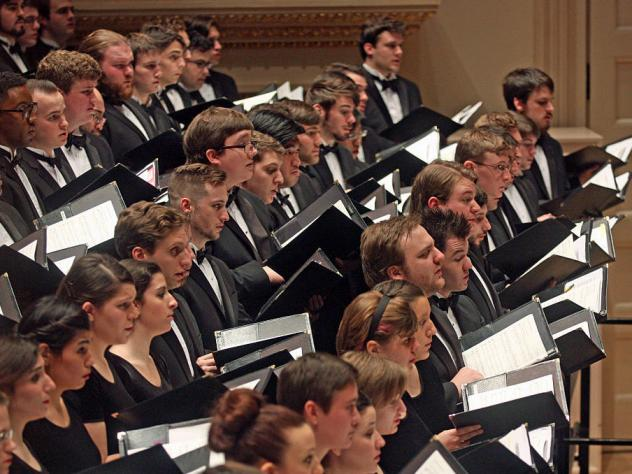 Students of the Westminster Choir College perform with the Vienna Philharmonic at New York's Carnegie Hall in 2015.