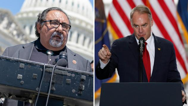 Interior Secretary Ryan Zinke (right) has suggested that Arizona Rep. Raul Grijalva (left), who is in line to chair the House committee overseeing the Department of the Interior, is a drunk.