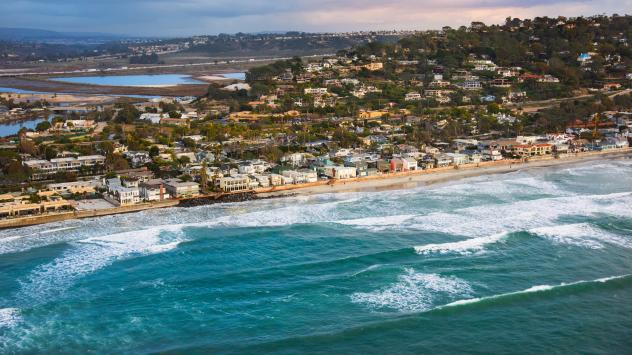 An aerial view of the coastline of Del Mar, Calif., located about 20 miles north of downtown San Diego. The city has voted against a formal policy of 'managed retreat' from rising seas.