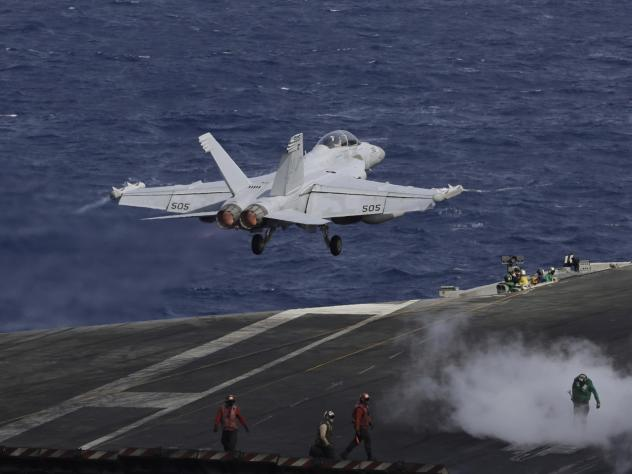 An F/A-18 Super Hornet fighter similar to one involved in an incident off the coast of Japan on Wednesday.