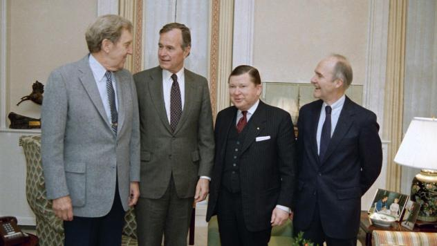 George H.W. Bush, second from left, meets with President Reagan's commission set up to probe the operations of the National Security Council staff in Washington on Dec. 18, 1986. In a diary entry dated Nov. 5, 1986, Bush wrote about the Iran-Contra opera
