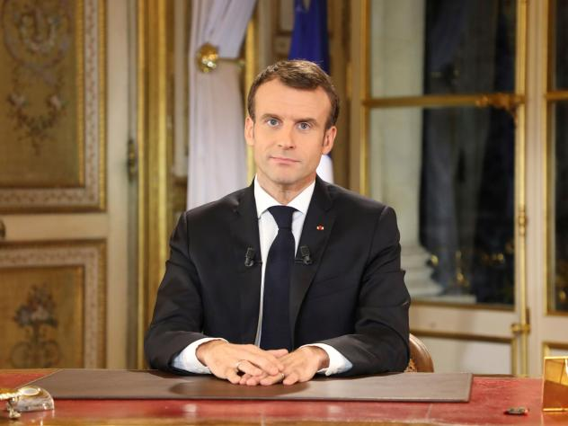 """French President Emmanuel Macron delivered a special address to the nation on Monday, his first public comments after four weeks of nationwide """"yellow vest"""" (gilet jaune) protests."""