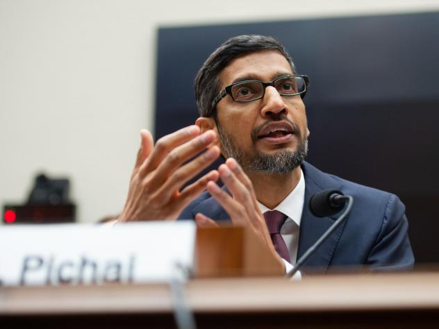 Google CEO Sundar Pichai testifies during a House Judiciary Committee hearing on Capitol Hill.