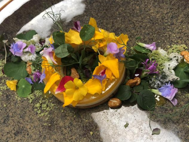 At the restaurant Siren by Robert Wiedmaier, pastry chef Maddy Morrissey uses marigold as the base for a Japanese dessert served with nasturtium leaves, flower petals and pineapple sage shortbread.