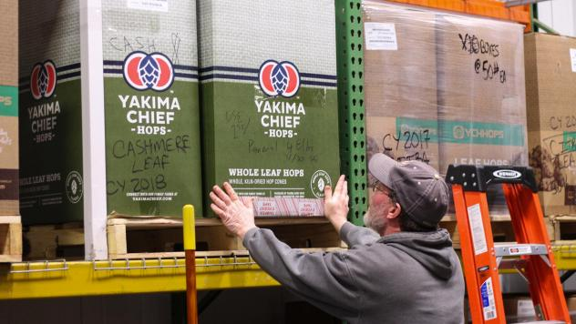"At Odell Brewing Company in Fort Collins, Colo., Scott Dorsch pulls down a box of hops from the Yakima Valley in Washington, the state that grows the most hops in the nation. ""We would buy more hops than what Colorado could produce,"" he says."
