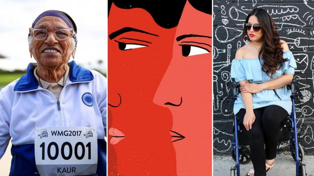 """From left: Man Kaur of India celebrates after competing in the 100-meter sprint in the 100+ age category at the World Masters Games in Auckland, New Zealand; an illustration inspired by a list of global poverty thinkers being called a """"Sausagefest""""; Mary"""