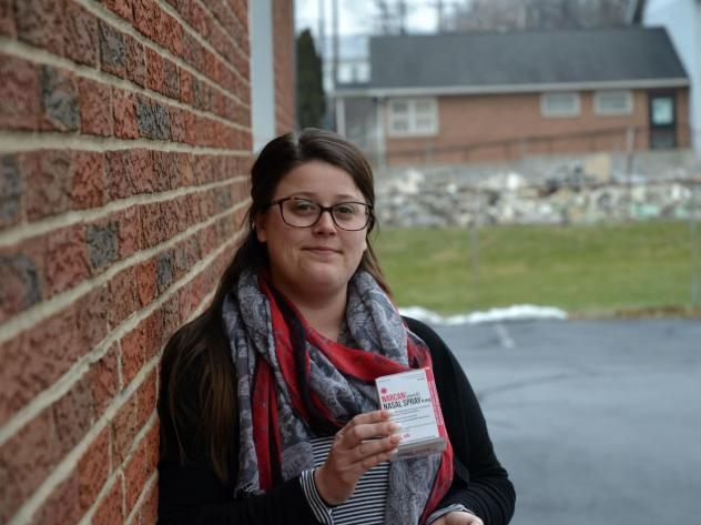 """""""People have to be alive to get the help that they need,"""" said Brittney Webster, who got free naloxone at a health center in Carlisle, Pa."""